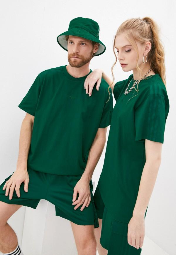 женская спортивные футболка adidas, зеленая