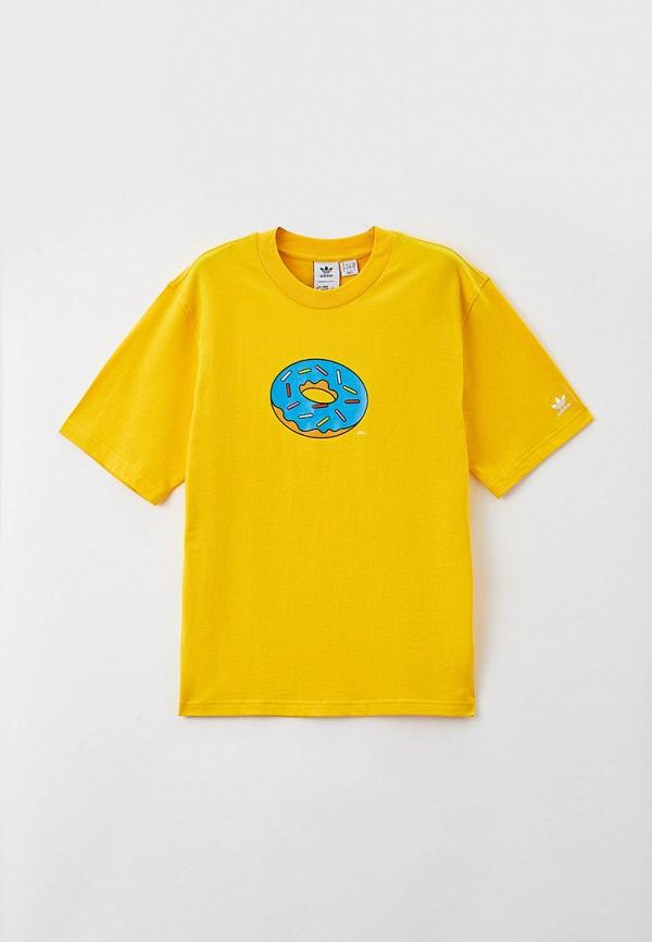 женская футболка с коротким рукавом adidas, желтая
