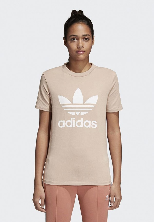 Купить Футболка adidas Originals, adidas Originals AD093EWALOP6, бежевый, Весна-лето 2018