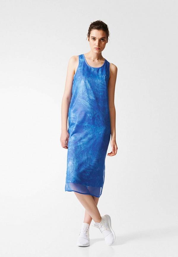 женское спортивные платье adidas, синее