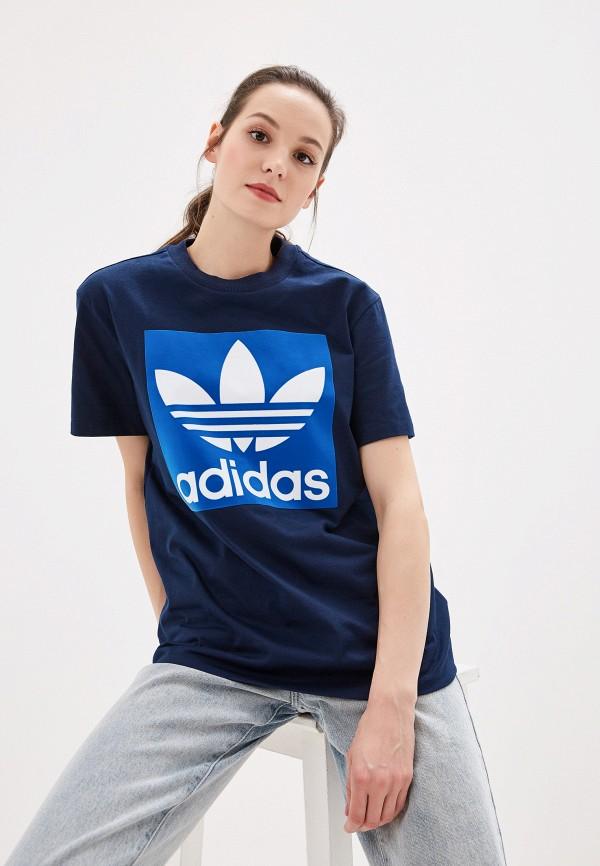Купить женскую футболку adidas Originals синего цвета