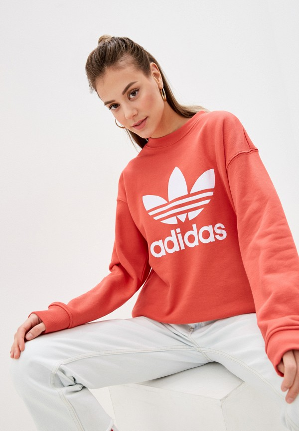 женский спортивные свитшот adidas, красный