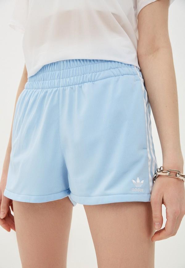 женские шорты adidas, голубые