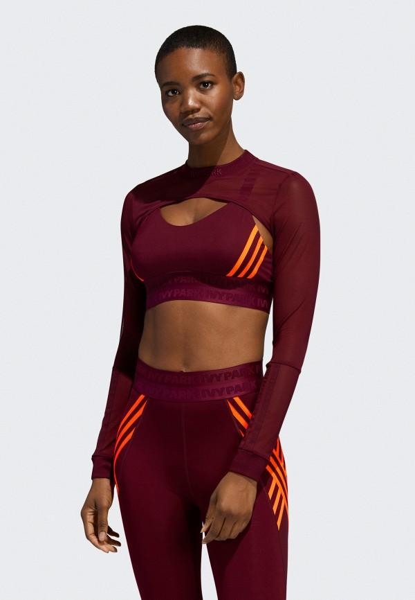 женский спортивные свитшот adidas, бордовый
