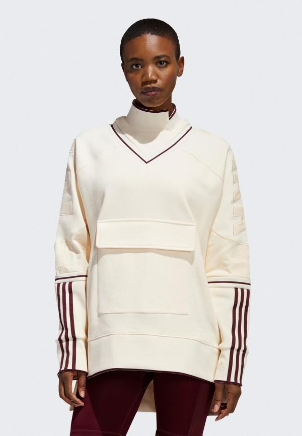 женский спортивные свитшот adidas, бежевый