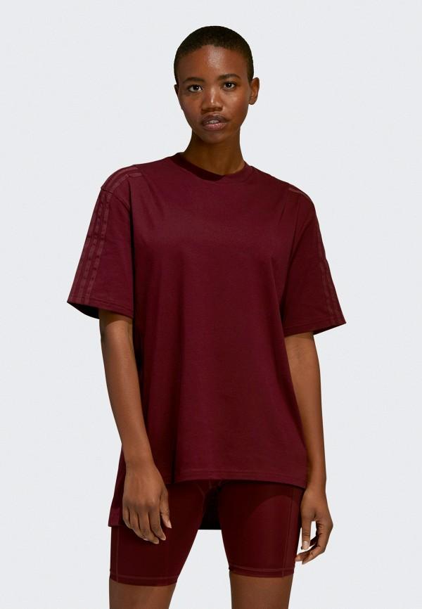 женская спортивные футболка adidas, бордовая