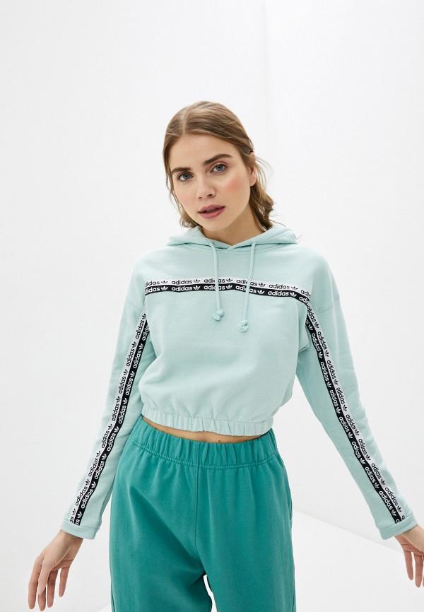 женские худи adidas, бирюзовые