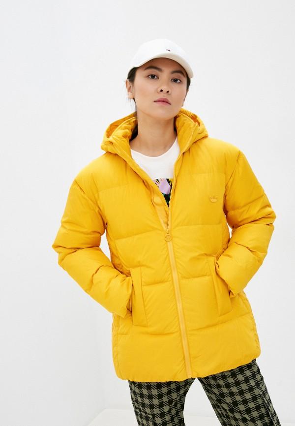 женский пуховик adidas, желтый
