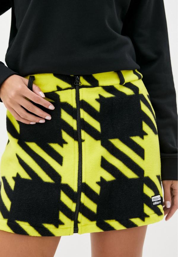 женская юбка-трапеции adidas, желтая