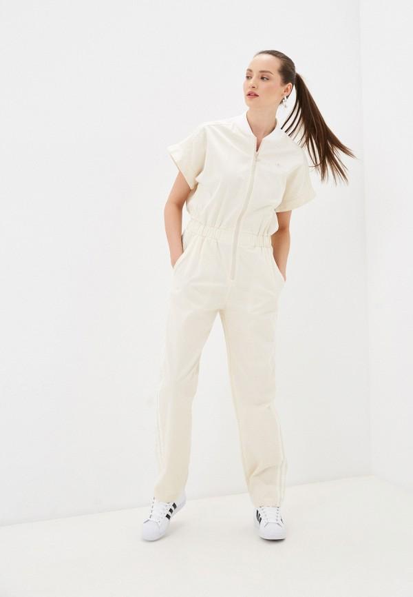 женский спортивные комбинезон adidas, бежевый