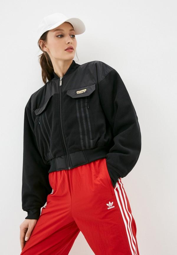 женская куртка бомбер adidas, черная