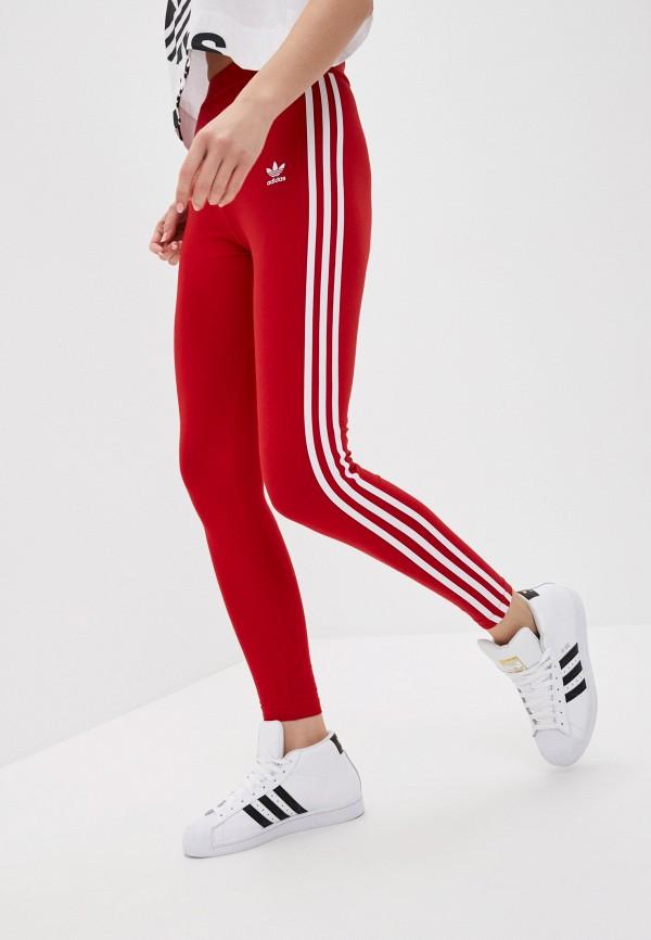 женские спортивные леггинсы adidas, красные