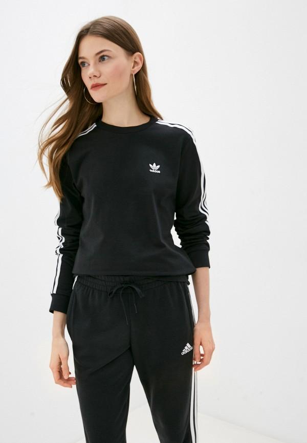 женский лонгслив adidas, черный