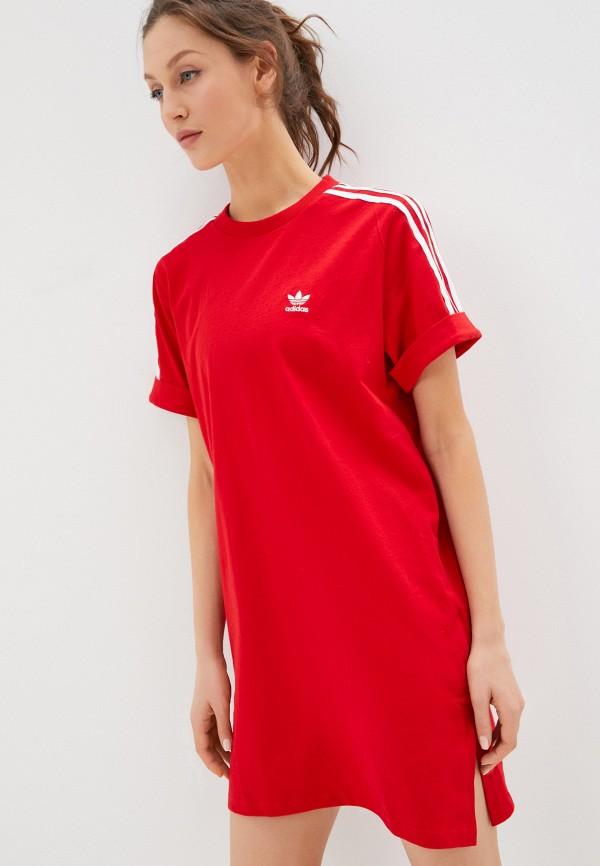 женское спортивные платье adidas, красное