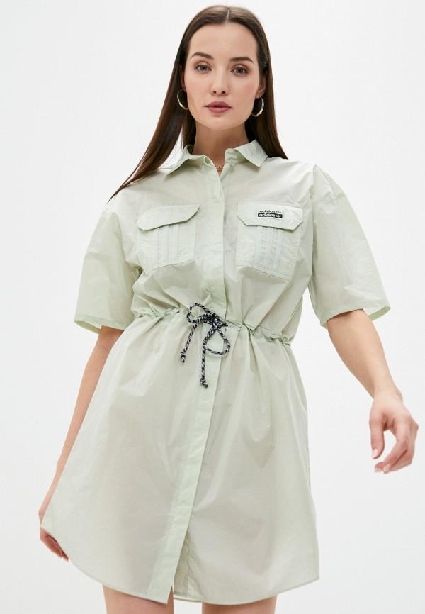 женское платье adidas, зеленое