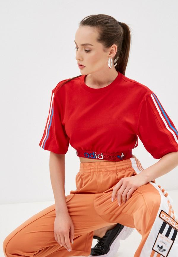 женский спортивные топ adidas, красный