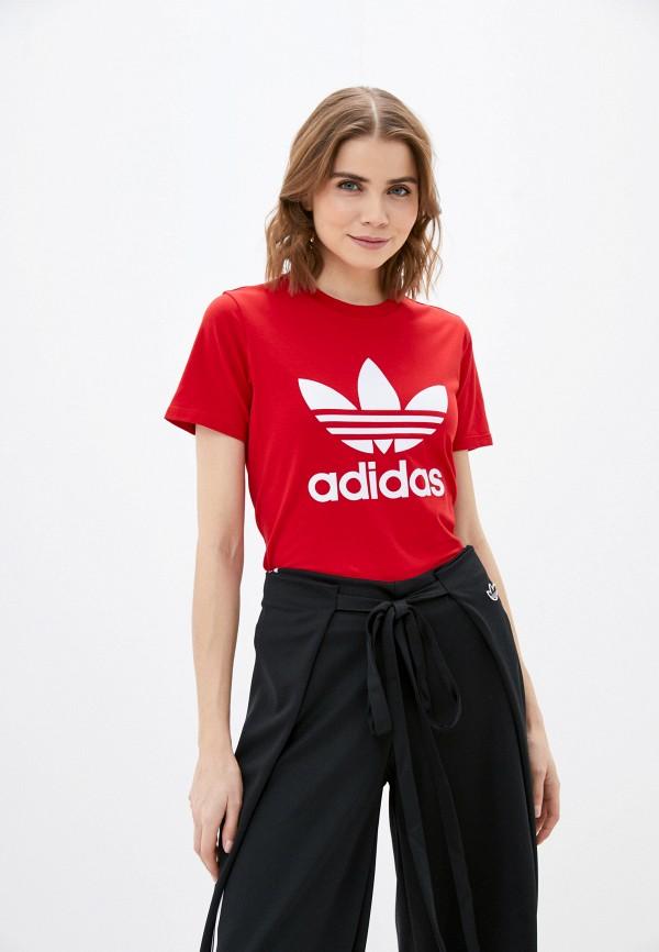 женская спортивные футболка adidas, красная