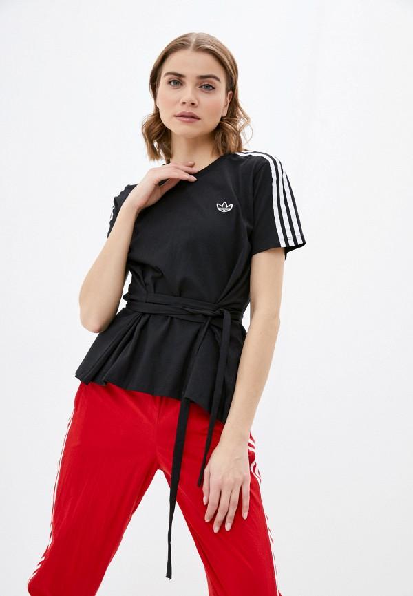 женская спортивные футболка adidas, черная