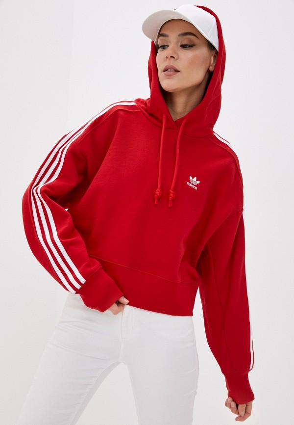 женские худи adidas, красные