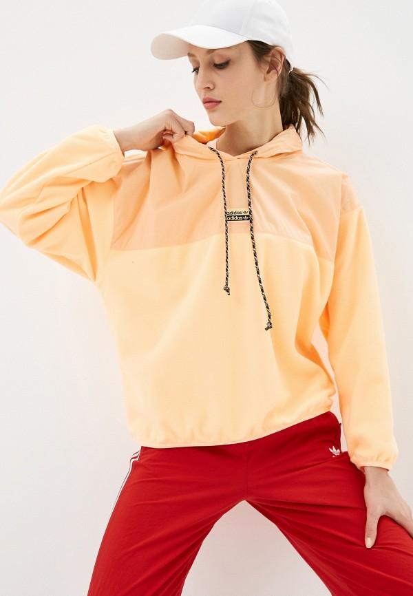 женские худи adidas, оранжевые