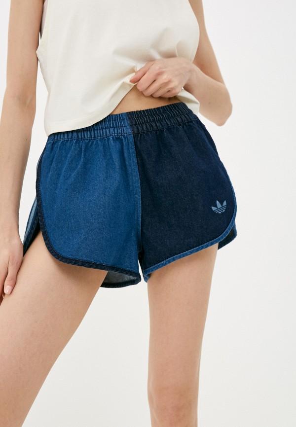 женские джинсовые шорты adidas, синие