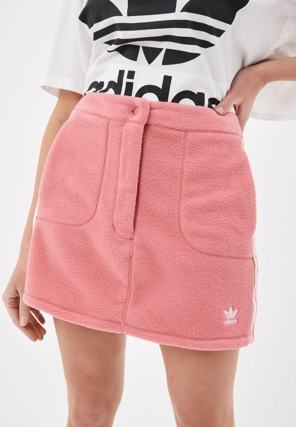женская прямые юбка adidas, розовая