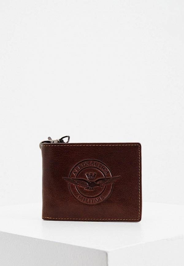 мужской кошелёк aeronautica militare, коричневый