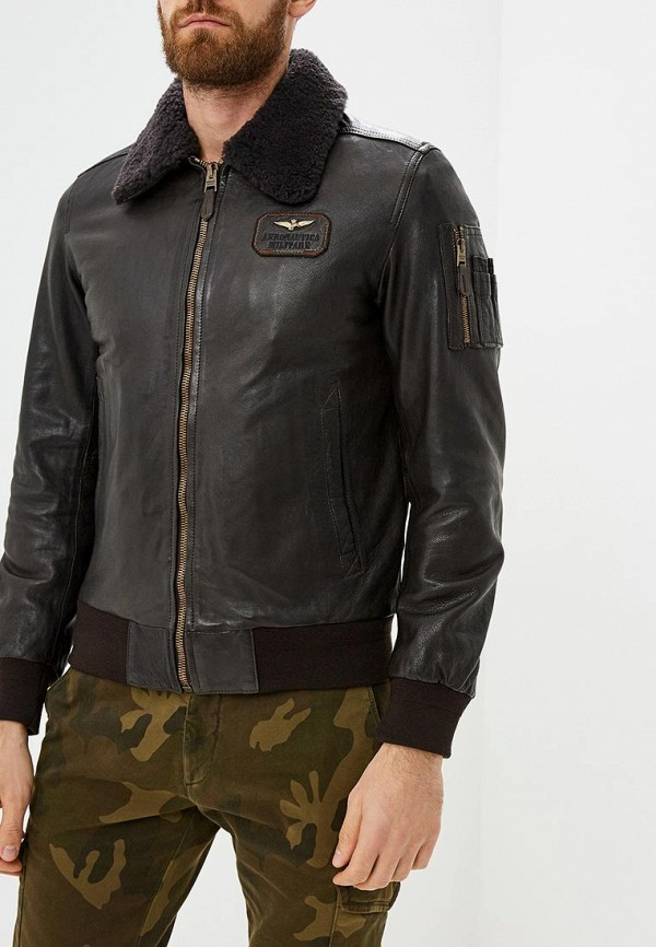 Купить Куртка кожаная Aeronautica Militare, Aeronautica Militare AE003EMCCXL8, коричневый, Осень-зима 2018/2019
