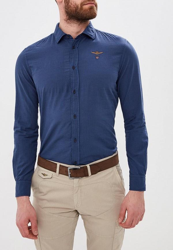 мужская рубашка с длинным рукавом aeronautica militare, синяя