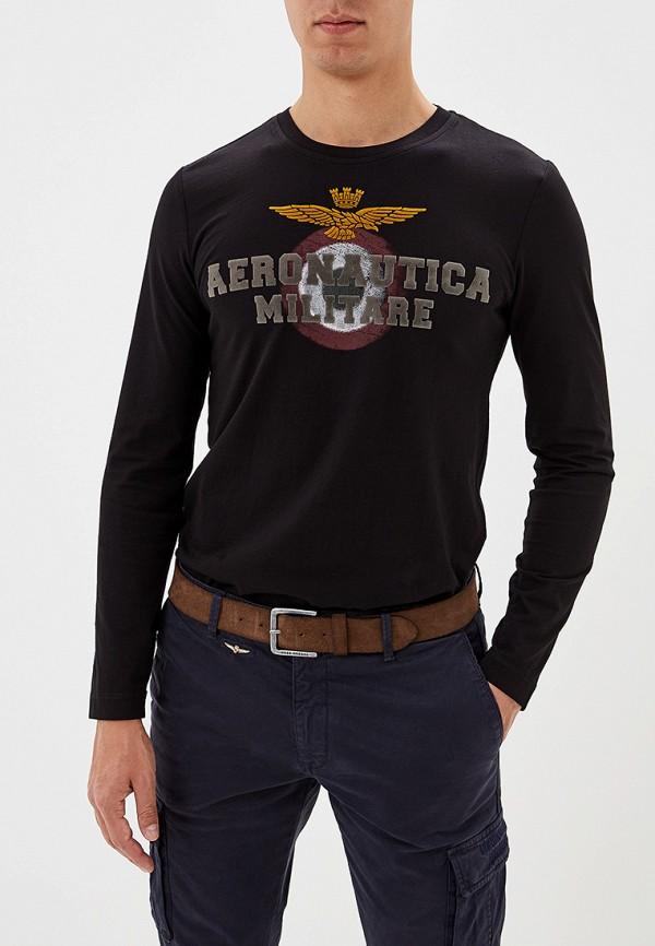 мужской лонгслив aeronautica militare, черный