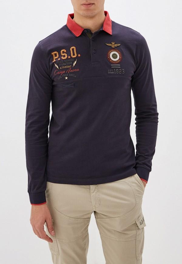 Фото - мужское поло Aeronautica Militare серого цвета