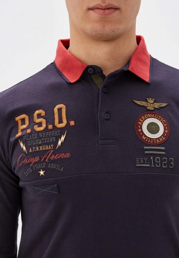 Фото 4 - мужское поло Aeronautica Militare серого цвета