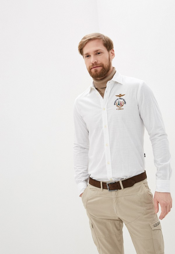 мужская рубашка с длинным рукавом aeronautica militare, белая