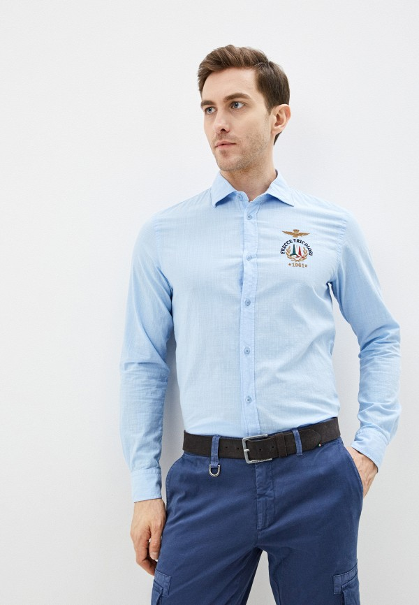 мужская рубашка с длинным рукавом aeronautica militare, голубая