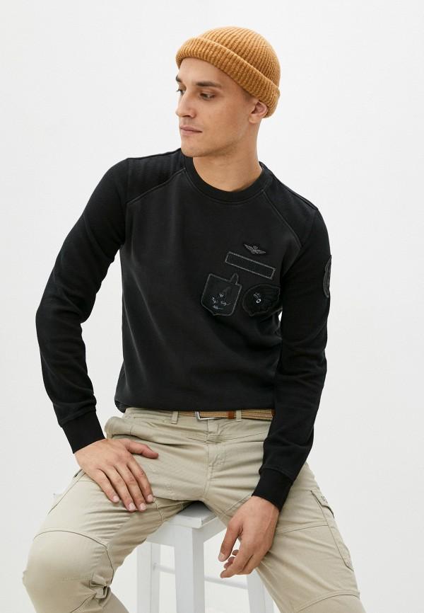 мужской свитшот aeronautica militare, черный