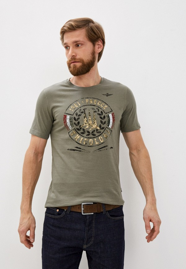 мужская футболка aeronautica militare, хаки