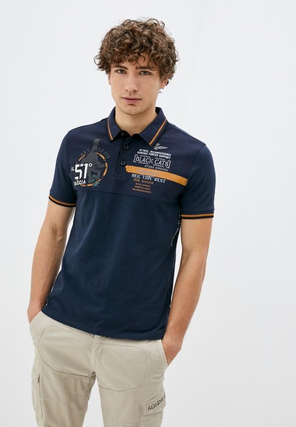 мужское поло aeronautica militare, синее