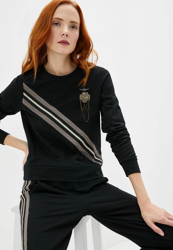 женский свитшот aeronautica militare, черный