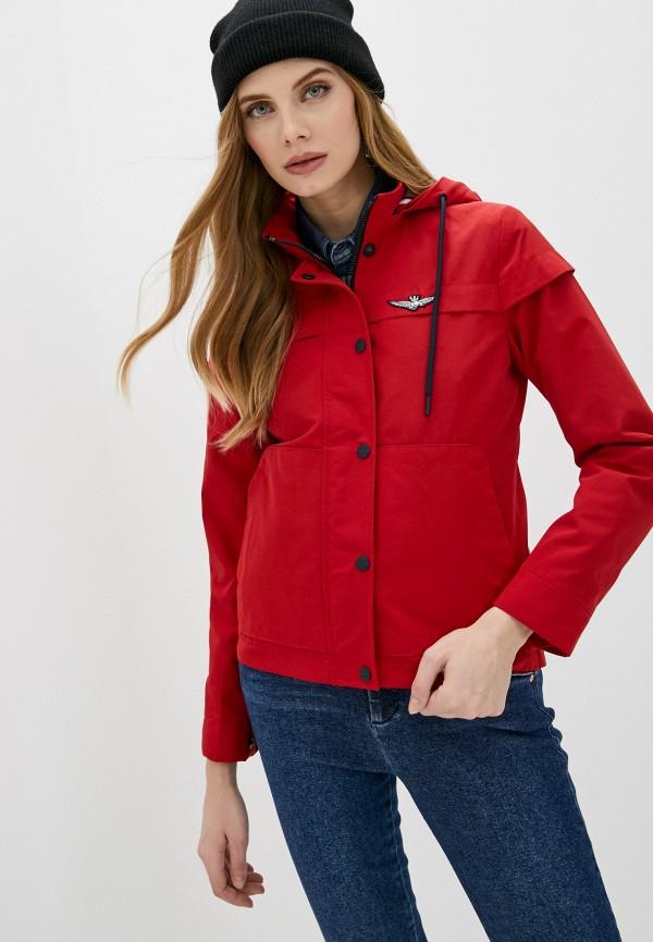 женская куртка aeronautica militare, красная