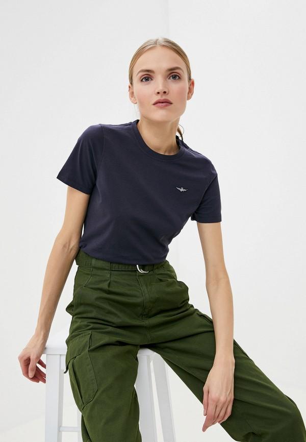 женская футболка aeronautica militare, синяя