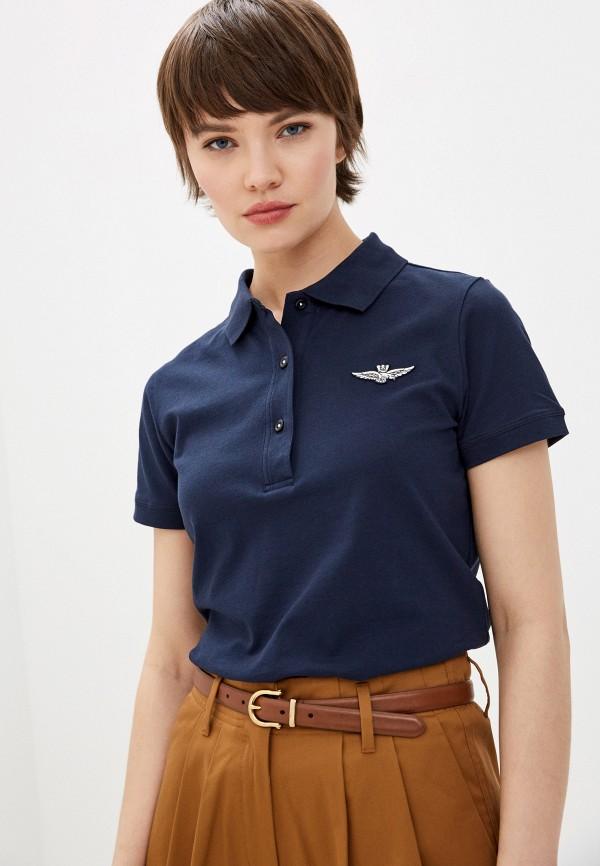 женское поло aeronautica militare, синее