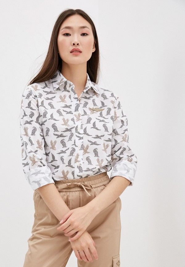 женская рубашка с длинным рукавом aeronautica militare, белая