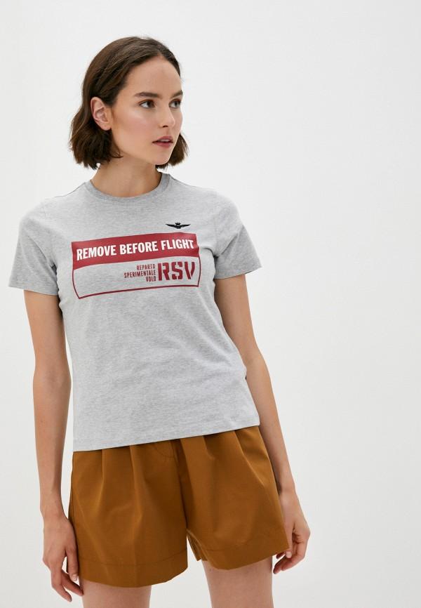 женская футболка aeronautica militare, серая