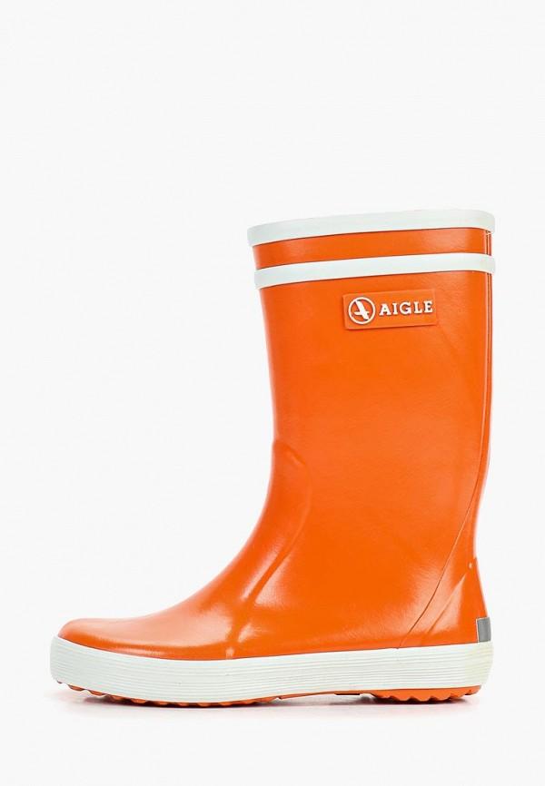резиновые сапоги aigle для девочки, оранжевые