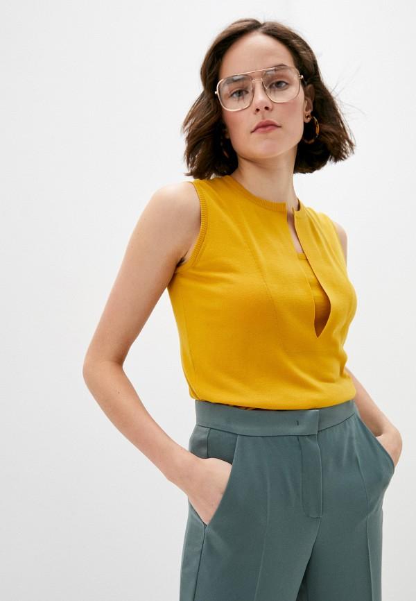 женский жилет akris punto, желтый