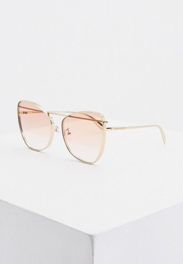 женские солнцезащитные очки alexander mcqueen, золотые