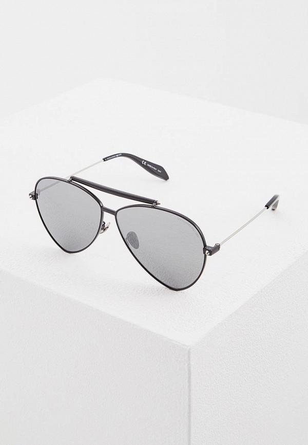 женские солнцезащитные очки alexander mcqueen, черные