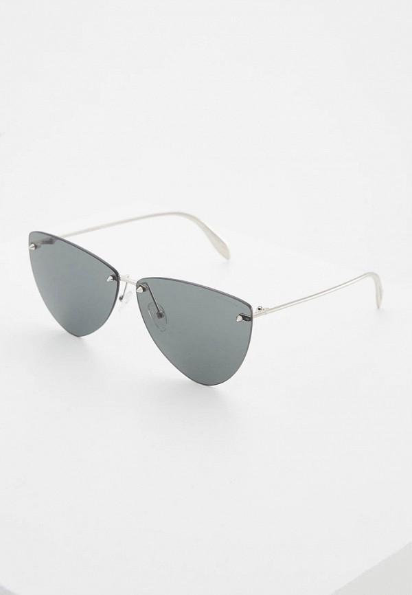 женские солнцезащитные очки alexander mcqueen, серебряные