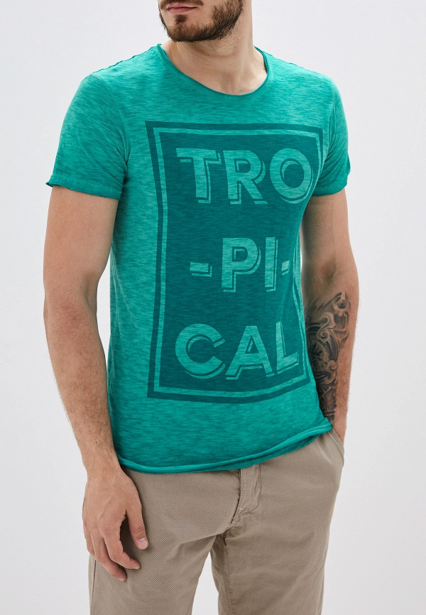 Фото - Мужскую футболку Alcott бирюзового цвета