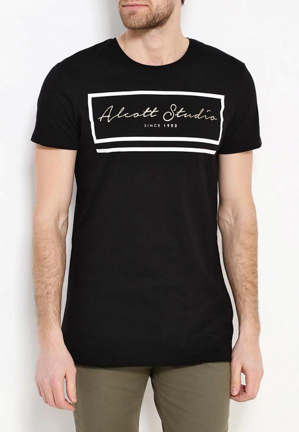мужская футболка с коротким рукавом alcott, черная